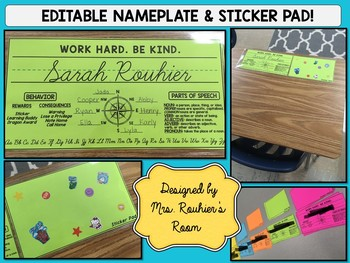 EDITABLE Nameplate & Sticker Pad (with Compass Buddies for easy pairing!)