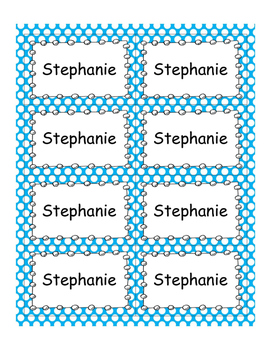 EDITABLE Nametags #5390 {Blue Bubbles Design}