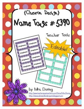 EDITABLE Nametags #5390 {Chevron Design}