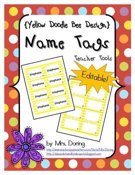 EDITABLE Nametags #5390 {Yellow Doodle Bee Design}