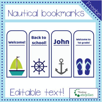 EDITABLE Nautical Bookmarks freebie