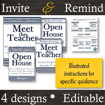 EDITABLE [Navy] Invitation & Reminder Flyers for Meet the Teacher & Open House