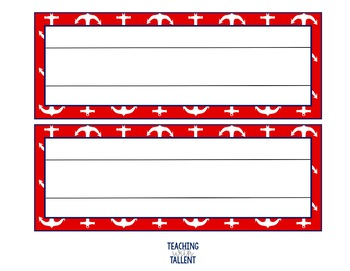 EDITABLE Navy and Red Nautical Desk Name Tags (6 Designs, 3 Options!)