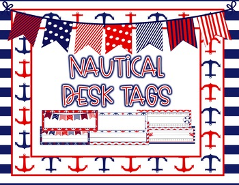 EDITABLE Navy and Red Nautical Desk Name Tags - 60 DIFFERENT options!