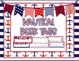 EDITABLE Navy and Red Nautical Desk Name Tags - 60 DIFFERE