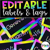 EDITABLE Neon Locker Tags Black and Bright Back to School