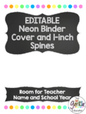 EDITABLE Neon Dots and Chalkboard Binder Covers and 1 inch Spines