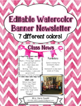 EDITABLE Newsletter with Watercolor Banner