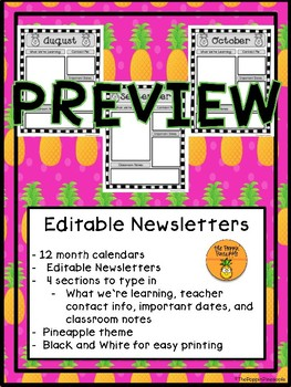 EDITABLE Newsletters in Tropical Pineapple Theme