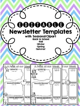 EDITABLE Newsletters with Seasonal Clipart