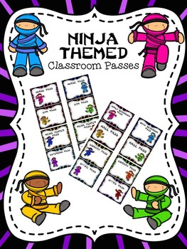 EDITABLE Ninja Themed Classroom Passes