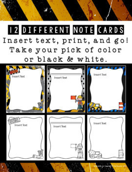 EDITABLE Note Cards (Construction Theme)