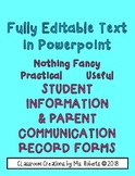 EDITABLE Useful Student Info & Parent Communication Record Forms