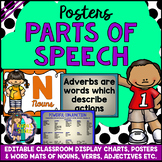 EDITABLE Nouns, Verbs, Adverbs, Adjectives, Pronouns etc. (Posters, Word Mats)