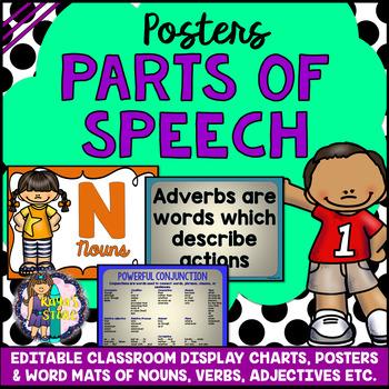 EDITABLE Nouns, Verbs, Adverbs, Adjectives, Pronouns etc. (Posters, Word Mats)