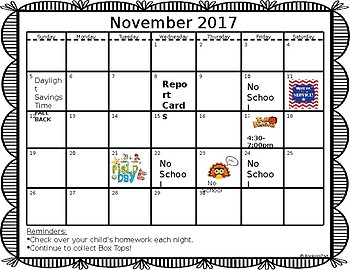 EDITABLE November Calendar