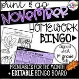 EDITABLE November Homework Bingo - 1st Grade Print and Go