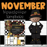 EDITABLE November Newsletter (Writing Prompt) Template - Thanksgiving