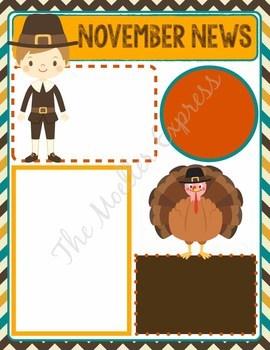 November Newsletter Template - EDITABLE (Thanksgiving Theme Writing Prompt)
