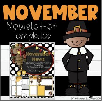 EDITABLE November Newsletter (Writing Prompt) Template - T