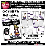 EDITABLE OCTOBER -FLIP BOOKS - MONTHLY NEWSLETTERS - CALEN