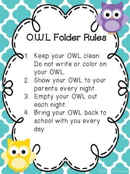 EDITABLE OWL Folder (Organized While Learning)