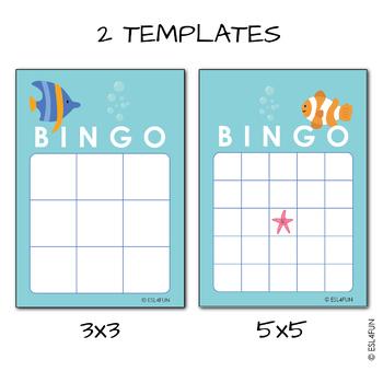 EDITABLE Ocean Bingo Cards