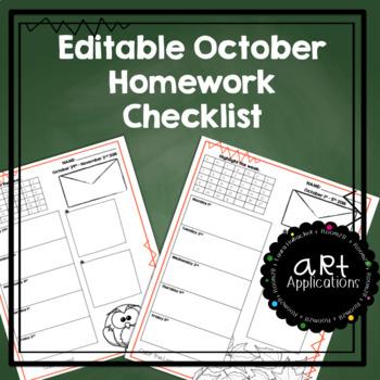 EDITABLE Homework Checklists (October 2018)