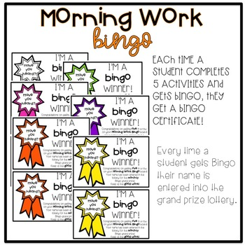 EDITABLE October Morning Work Bingo