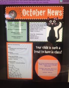 EDITABLE October Newsletter template - Halloween, Printable