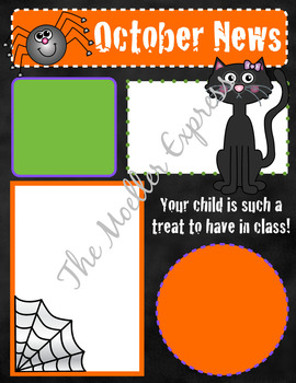 october newsletter template editable halloween printable tpt