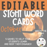EDITABLE October sight word cards for games and Write the