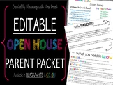 EDITABLE Open House Parent Packet