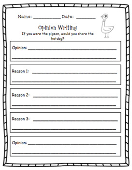 EDITABLE Opinion Writing Bundle- Pigeon Books