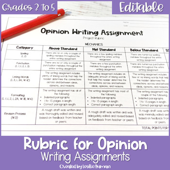 EDITABLE Opinion Writing Rubric for Upper Elementary