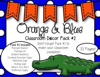 EDITABLE Orange & Blue (Gator Sports) Themed Classroom Decor Pack #2