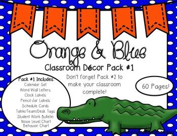 EDITABLE Orange & Blue (Gator Sports) Themed Classroom Decor Pack #1