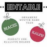 EDITABLE Ornament Name Tags for Winter Bulletin Boards