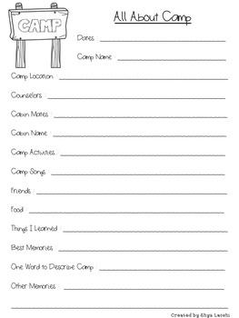 Overnight Camp Trip Diary & Paperwork-Editable
