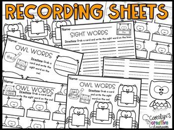 EDITABLE Owl Sight Word Center & Poem/ Chant