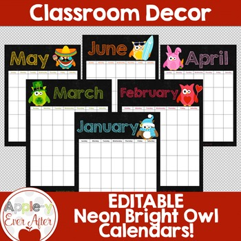 EDITABLE Owl Theme Chalkboard Calendar - Teacher/Parent Monthly Newsletter