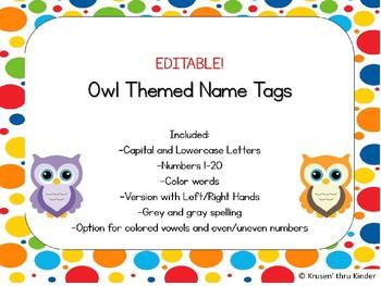 EDITABLE Owl Themed Name Tags