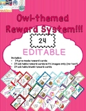 EDITABLE Owl Themed Student Rewards Cards (24 count) - Cla