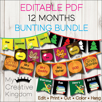 EDITABLE PDF 12 Months of Bunting