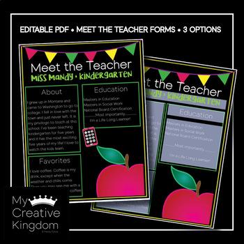 EDITABLE PDF Classic Apple Meet the Teacher Template
