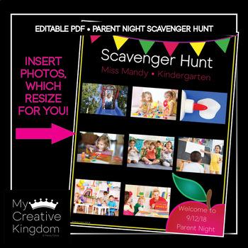 EDITABLE PDF Classic Apple Parent Night Scavenger Hunt