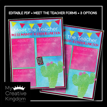 EDITABLE PDF Desert Cactus Meet the Teacher Template