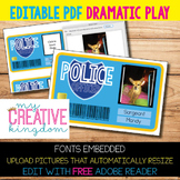 EDITABLE PDF Dramatic Play Center - Police Officer / Cop