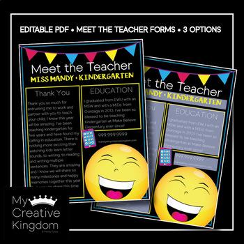 EDITABLE PDF Emoji Meet the Teacher Template