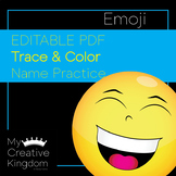 EDITABLE PDF Emoji Trace and Color Name Practice - PK-1